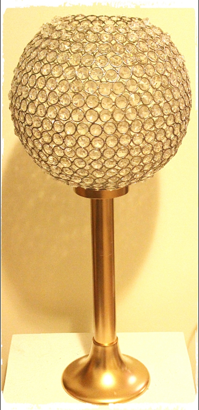 crystal ball centerpiece gold stand 24 inch tall