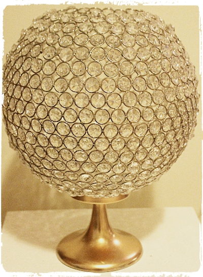 Crystal ball centerpiece 15 inch tall with gold base