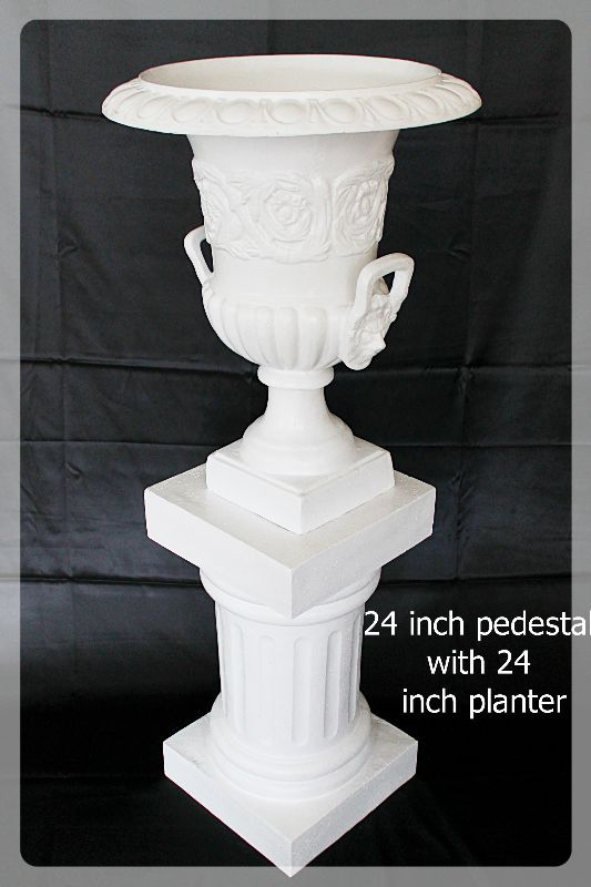 24 inch pedestal with 24 inch planter all white