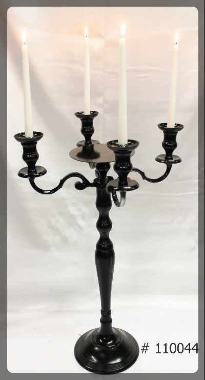 Black-Candelabras-30-inches-tall-with-7-inch-plate-and-4-Led-taper-Candles-110044