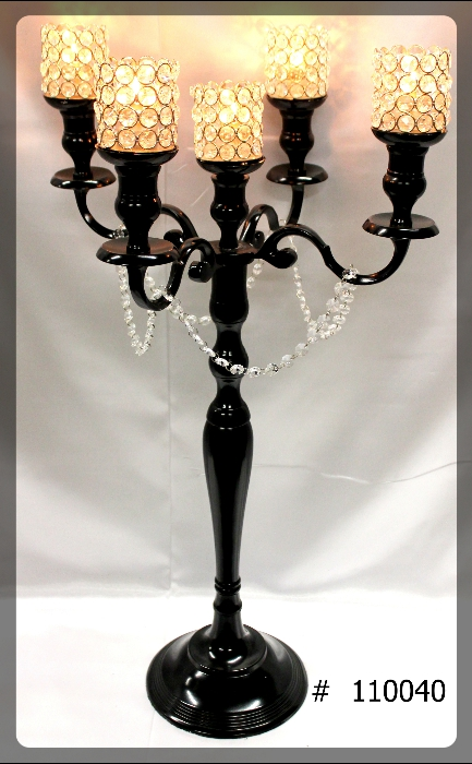 Black-Candelabras-33-inch-tall-with-5th-candle-5-crystal-votives-110040
