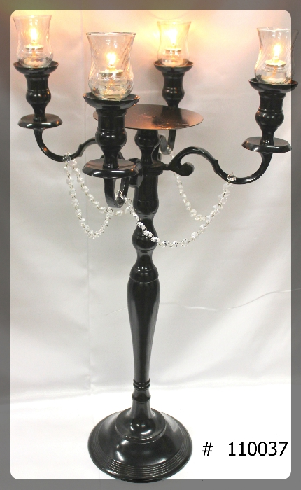 Black-Candelabra-33-inch-tall-with-plate-4-glass-votives-110037