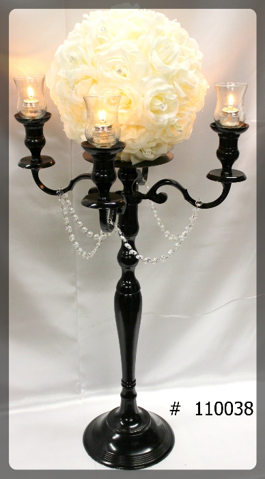 Black-Candelabras-39-inch-tall-w-plate-and-flower-ball-4-glass-votives-110038