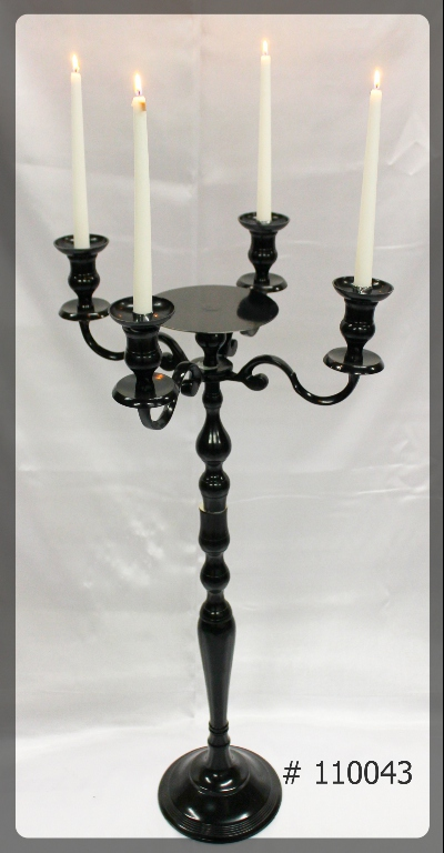 Black-Candelabras-39-inch-tall-with-7-inch-plate-and-4-Taper-Led-Candles.-110043