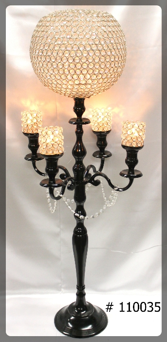 Black-Candelabras-47-inch-tall-with-12-inch-crsytal-ball-4-crystal-votives-110035
