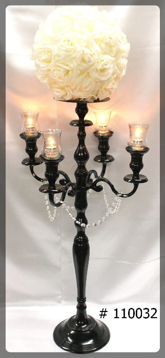 Black-Candelabras-47-inch-tall-with-plate-and-flower-ball-4-glass-votives-110032
