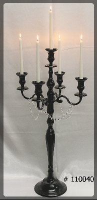 Black-Candelabras-5-taper-Led-Candles-w-crystal-on-Arms-XL-45-inches-tall-110040