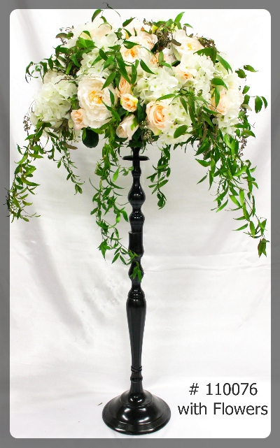 flower stand black 35 inch tall with 7 inch plate with flowers 110076. Toronto, Ontario, Canada.