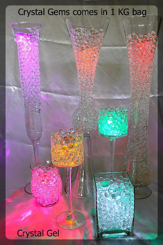 crystal gem in glass vases