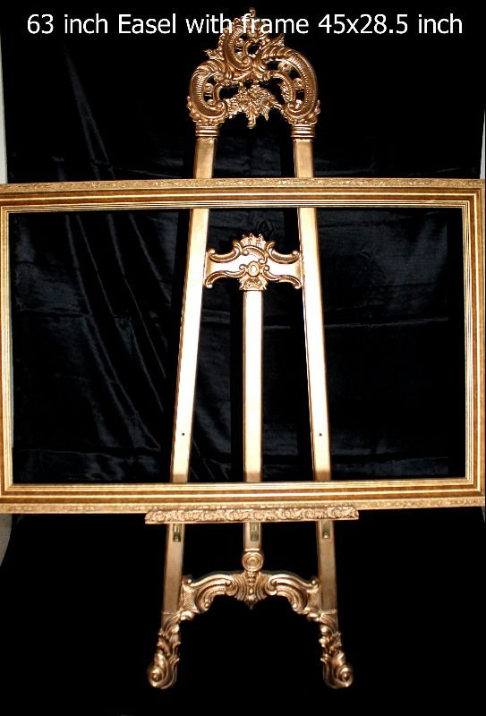 Easel 63 inch tall with frame 45x28.5 inch