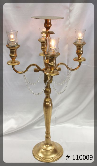 Gold-Candelabra-38-inches-tall-with-plate-for-flowers