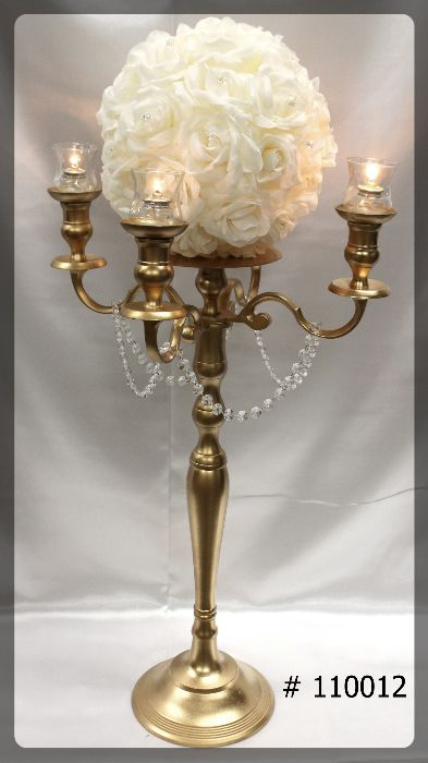 Gold-Candelabra-39-inch-tall-with-plate-and-flower-ball-4-glass-votives