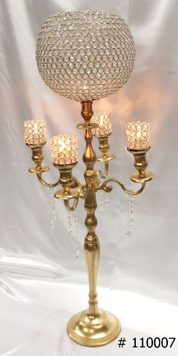 Gold-Candelabra-47-inches-tall-with-12-inch-crystal-glove-4-crystal-votives-and-tear-drop-crystals