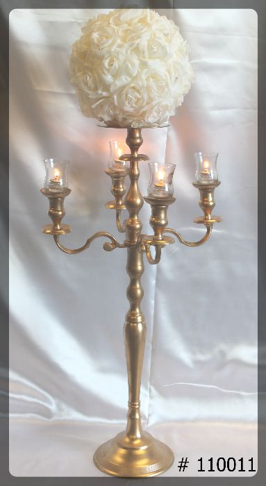 Gold-Candelabra-with-plate-and-Flower-ball-on-top
