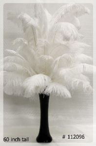 Ostrich Feather Centerpiece with black vase 55 inch tall # 112096