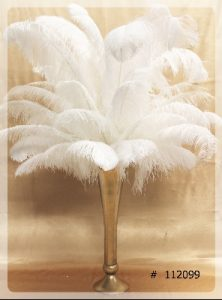 Ostrich Feather Centerpiece with gold vase 55 inch tall # 112099