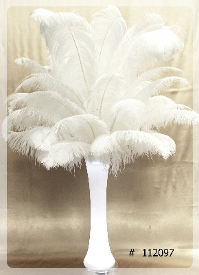 Ostrich Feather Centerpiece with clear vase 55 inch tall # 112097