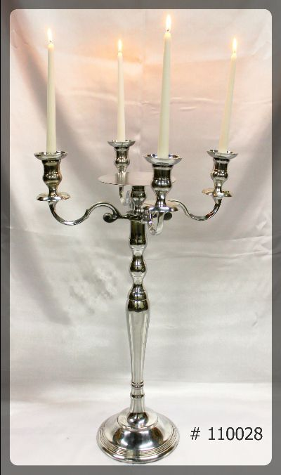 Silver Candelabra 30 inch tall with 7 inch plate 4 Led taper candles # 110028