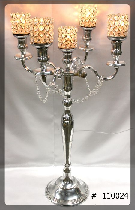 Silver Candelabras 33 inch tall with 5th candle, 5 crystal votives, crystals hanging on arms # 110024