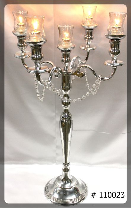 Silver Candelabra 33 inch tall with 5th candle, 5 glass votives, 5 fuel cells, crystals on arms # 110023