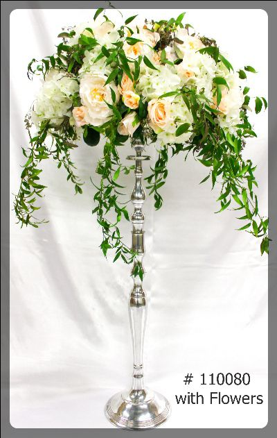 Silver Candelabra 35 inches tall with 7 inch plate with flowers 110080