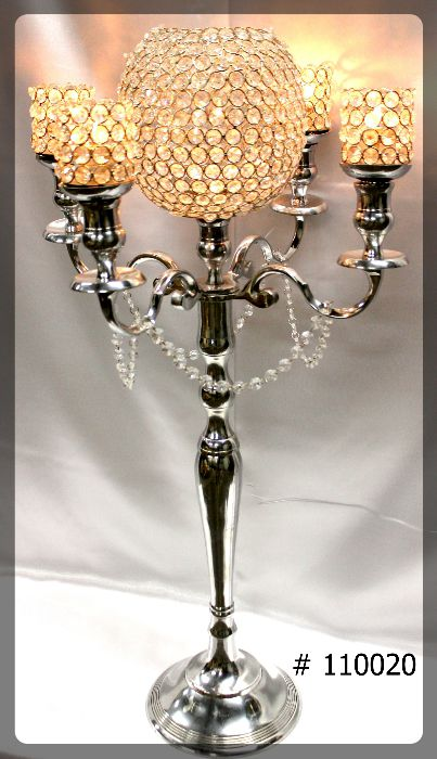 Silver Candelabra 36 inch tall with 8 inch crystal ball, 4 crystal votive holders # 110020