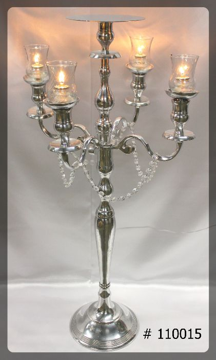 Silver Candelabra 38 inch tall with 4 glass votives