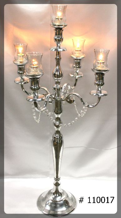 silver candelabra 39 inch tall with 5th candle, 5 glass votive holders 5 fuel cells 110017