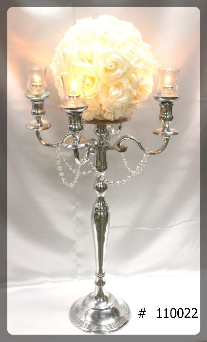 Silver Candelabra 39 inch tall with plate for flowers with 12 inch flower ball, 4 glass votives and 4 fuel cells # 110022
