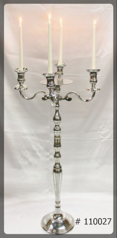 Silver Candelabra 39 inch tall with 7 inch plate 4 Led taper candles # 110027