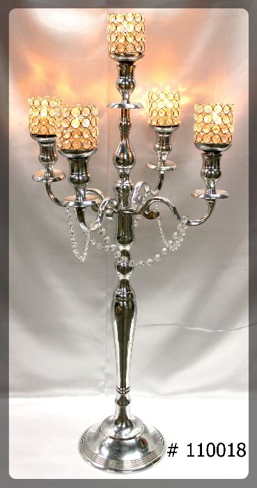 Silver Candelabra 40 inch tall with 5 th candles 5 glass votives 5 fuel cells # 110018