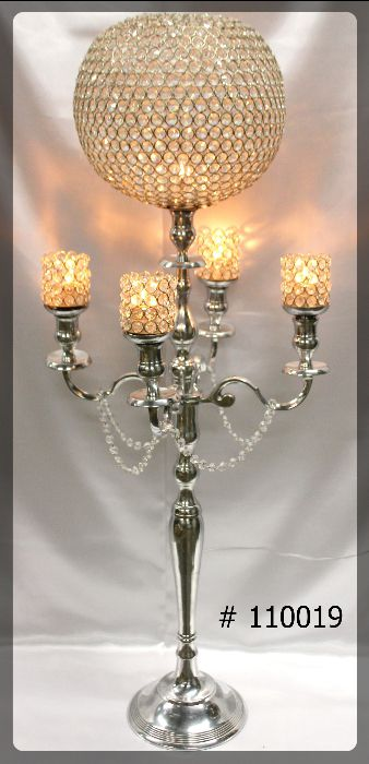 Silver Candelabra 47 inch tall with 12 inch crystal ball 4 crystal votives, crystals hanging #110019