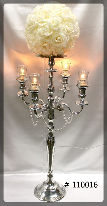 Silver Candelabra 47 inch tall with plate for flowers and ivory 12 inch flower ball