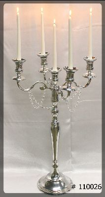 Silver Candelabra 5 taper Led Candles with crystals on arms 39 inch total height