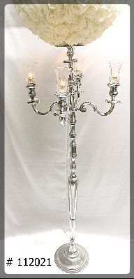 Silver Candelabra with plate and flower ball 20 inch total height 90 inches 112021