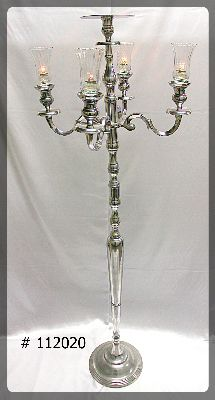 Silver Candelabra with 7 inch plate 70 inch tall # 112020