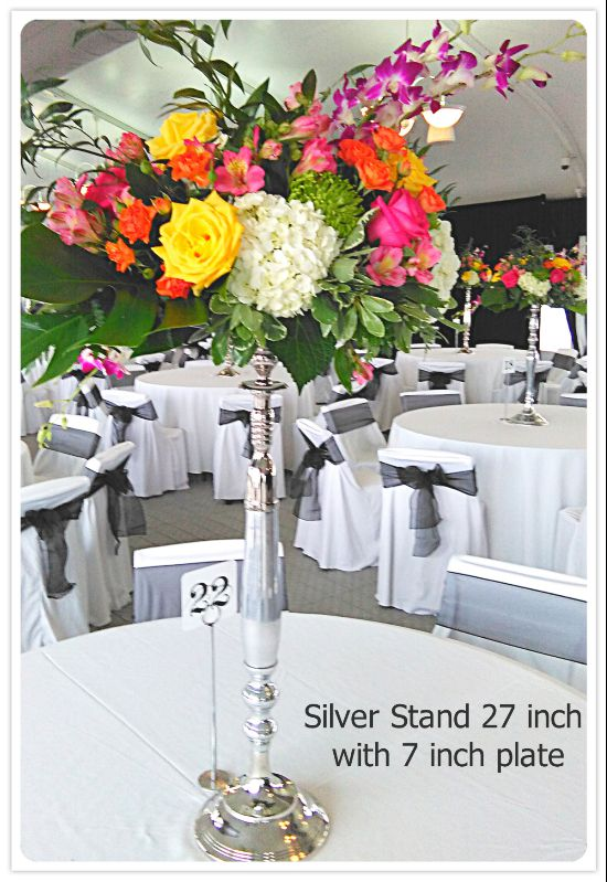 Flower Stand Silver 27 inch tall with flowers. Toronto, Ontario, Canada.