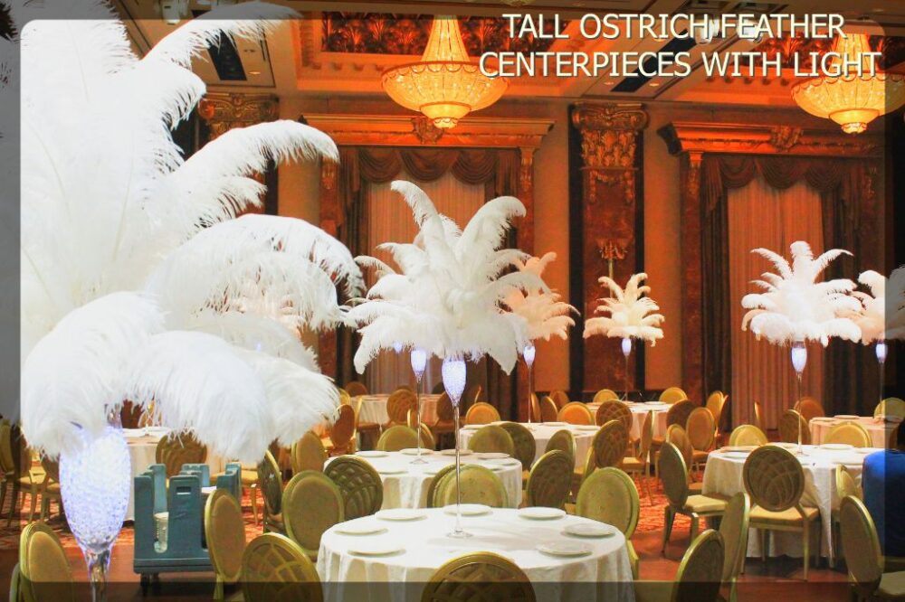 Tall ostrich feather centerpieces with led light the