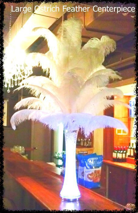 white-ostrich-feather-centerpiece. Toronto, Ontario, Canada.