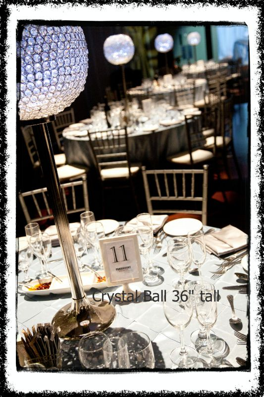 crystal-ball-centerpieces-36-inch-tall. Toronto, Ontario.