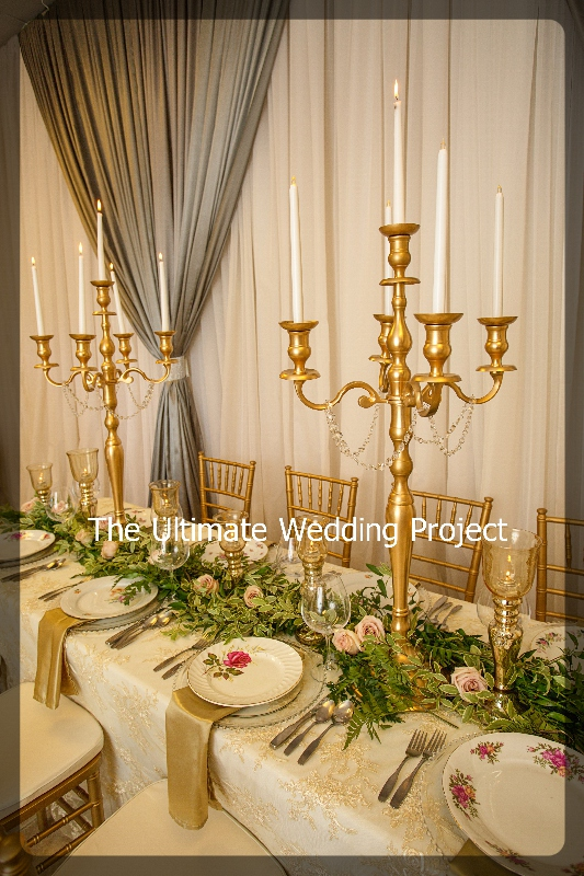 Gold Candelabras with tall taper Candles . Toronto, Ontario, Canada.