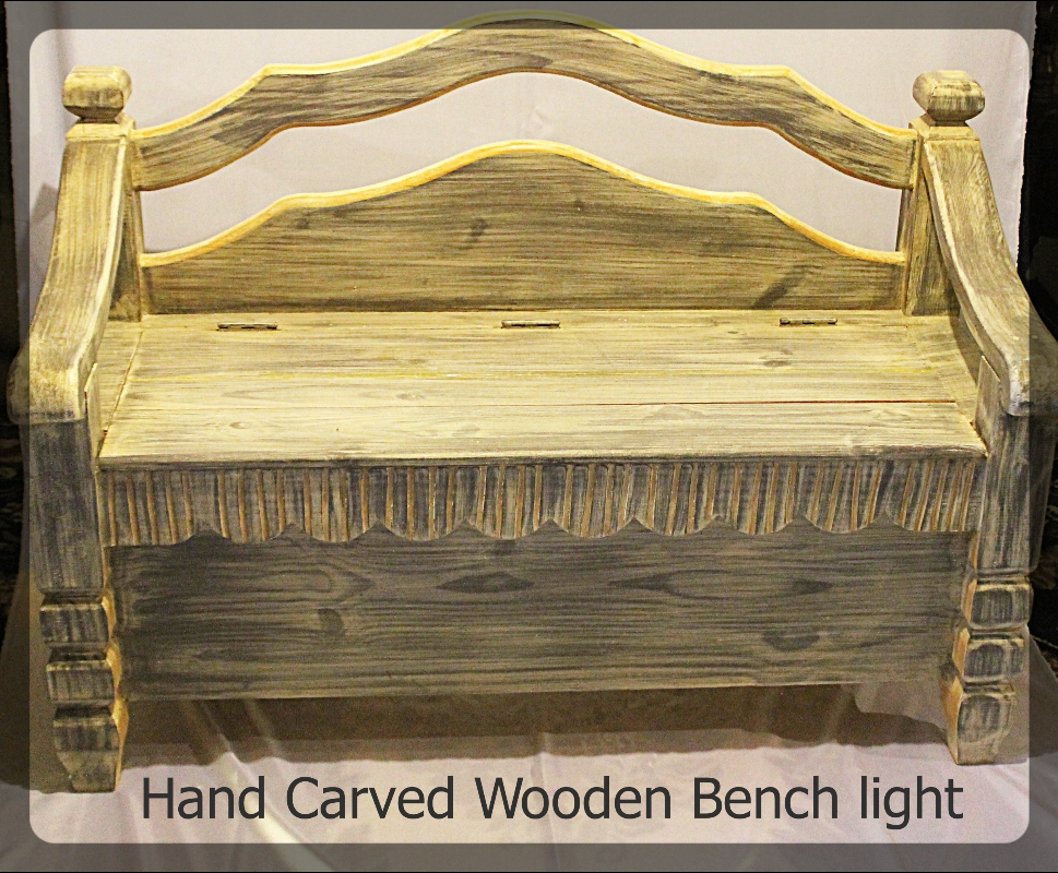 Hand Carved Wooden Bench Light furniture rental