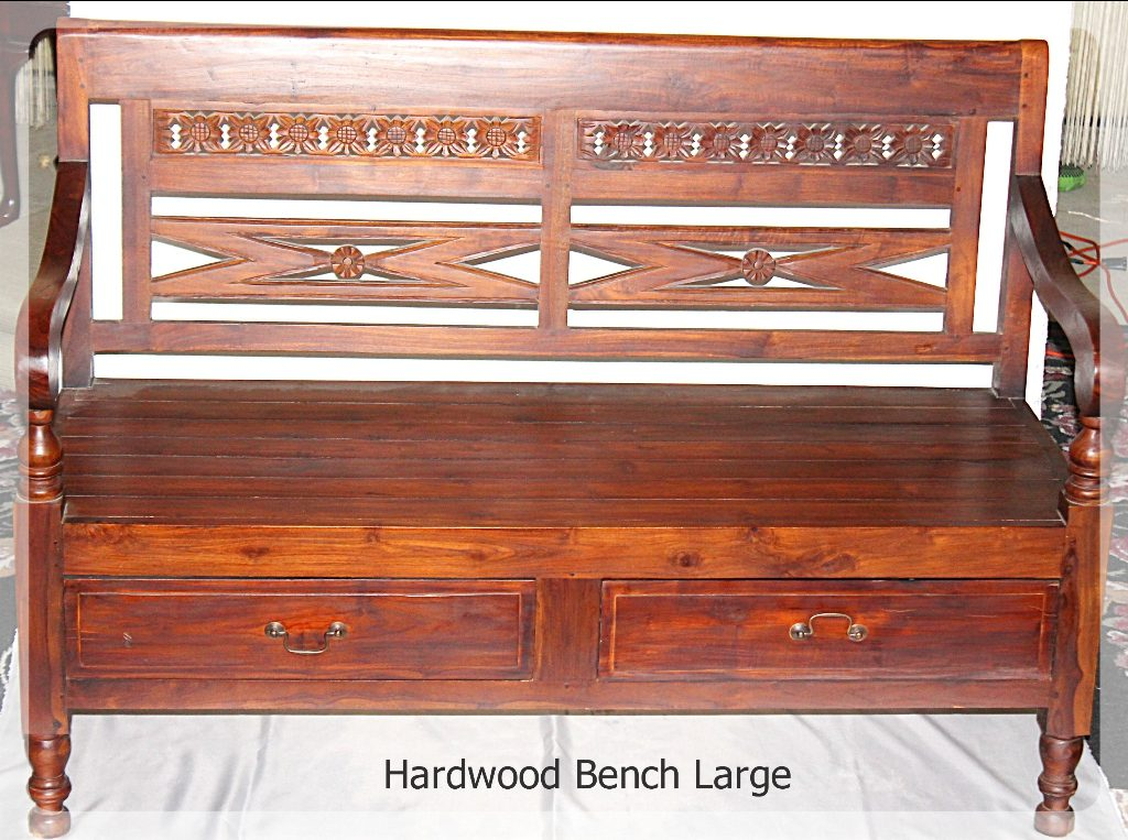 Hardwood Bench large handcarved furniture rental