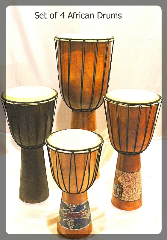 Set of 4 African Drums furniture rental
