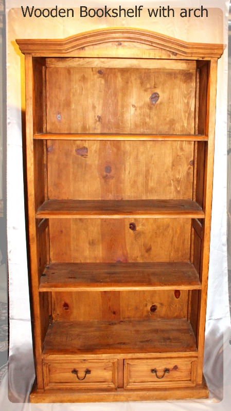 Wooden Bookshelf with arch furniture rental
