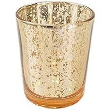 Glass votive gold mercury