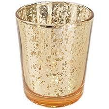 Glass votive gold mercury