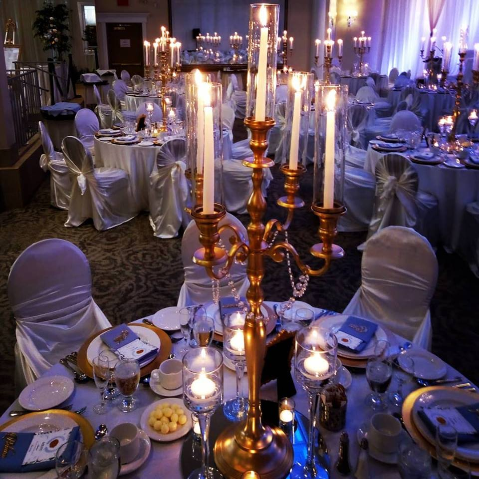 Gold Candelabras with tall taper candles