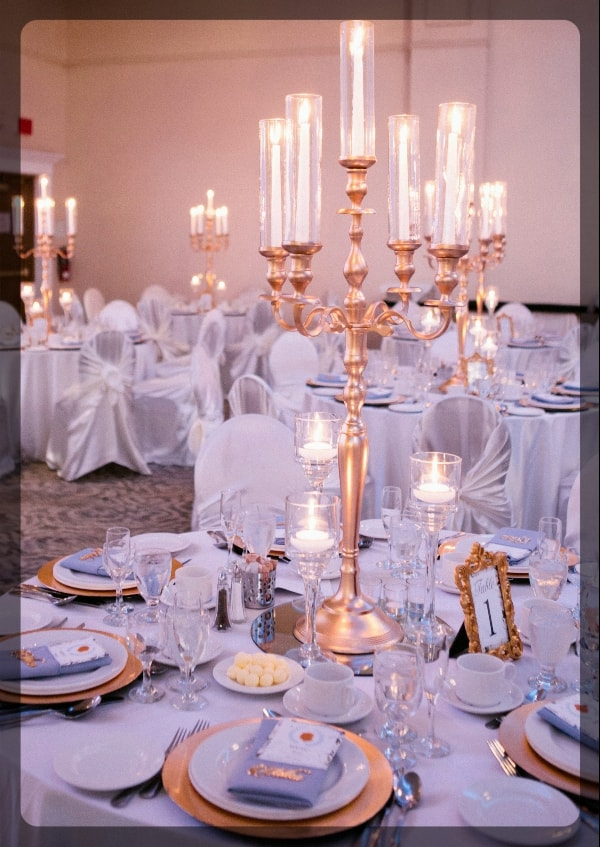Gold Candelabras with tall glass covers
