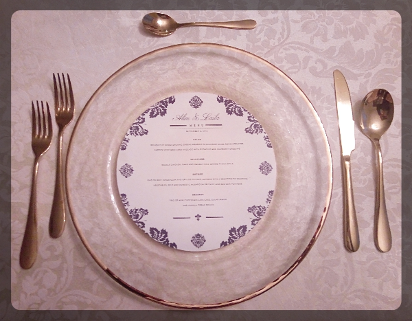 Gold Rim Charger with Gold Cutlery